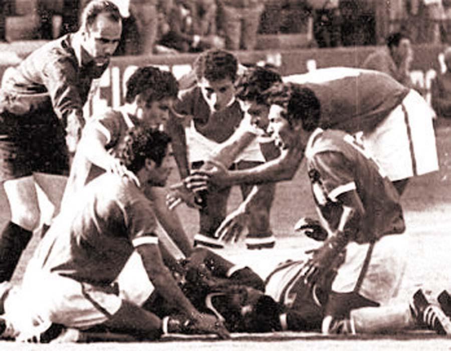 La celebración del gol del 'Nene' Cubillas