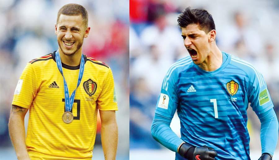 Eden Hazard y Thibaut Courtois