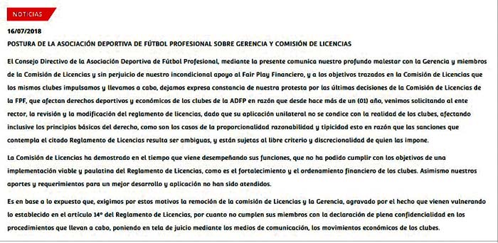La carta fue publicada en la página web de la ADFP