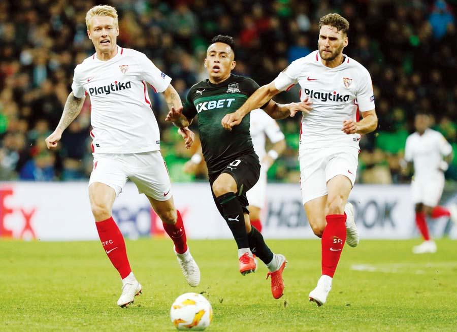 Krasnodar con Cueva derrotó 2-1 al Sevilla