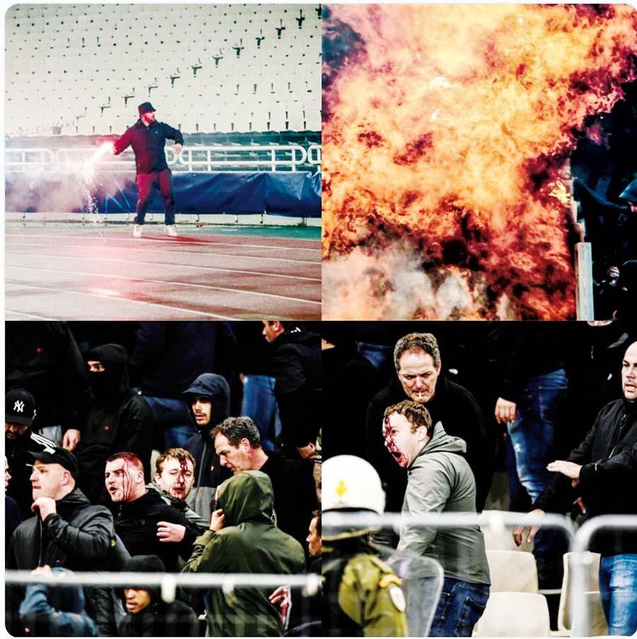 Hinchas del AEK lanzaron bomba molotov a holandeses