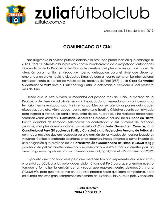 Comunicado Zulia