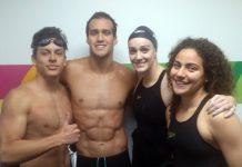 Equipo de natacion peruano conformado por Sebastián Arispe, Ricardo Espinoza, McKenna Debever y Jessica Cattaneo