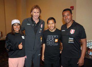 Gladys Tejeda y Christian Pacheco, a pocas horas del partido contra Ecuador, visitaron a la selección nacional