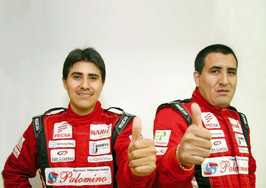 Richard Palomino y su copilotoAugusto Larrea