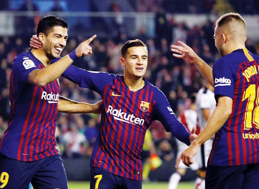 Barcelona venció 3-2 al Rayo Vallecano