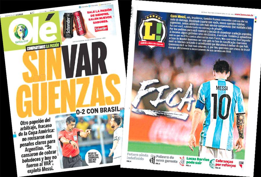 El diario Olé de Argentina y Lance de Brasil