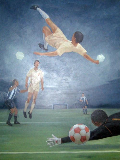 Pintura del artista peruano Fernando de la Jara que originalmente figuraba con la casaquilla del Perú y que serviría de portada en 1996 para la presentación de la candidatura de Perú, Ecuador y Colombia para organizar el Mundial FIFA 2006