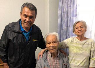 Tito Morinaga con Walter Ormeño y su esposa Nina