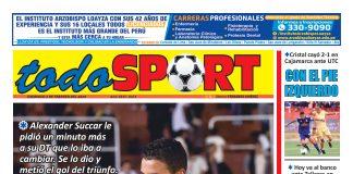 Portada impresa – Diario Todo Sport (02/02/2020)