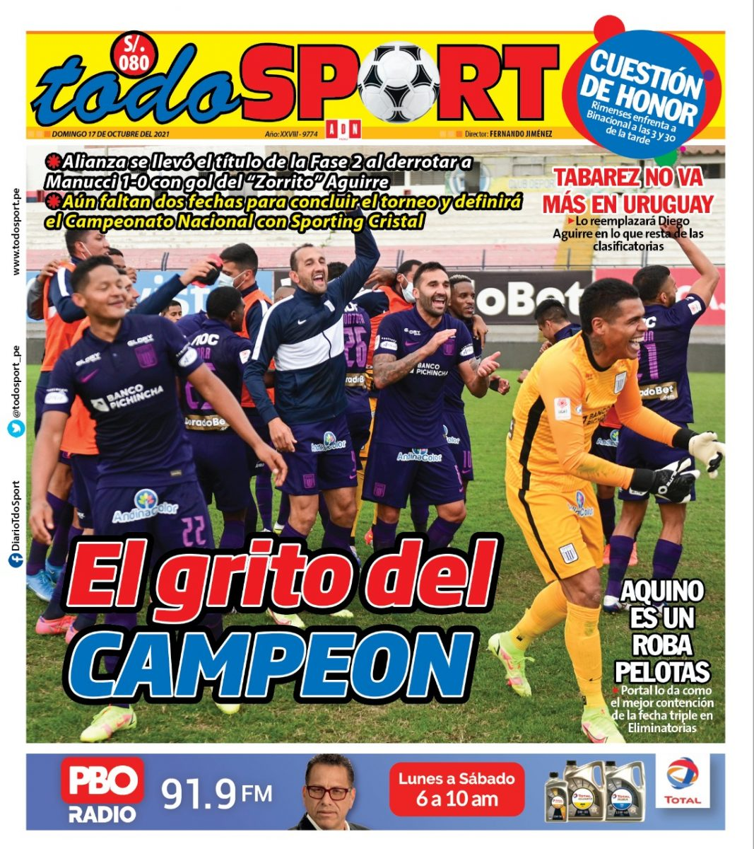 Portada impresa – Diario Todo Sport (17/10/2021)