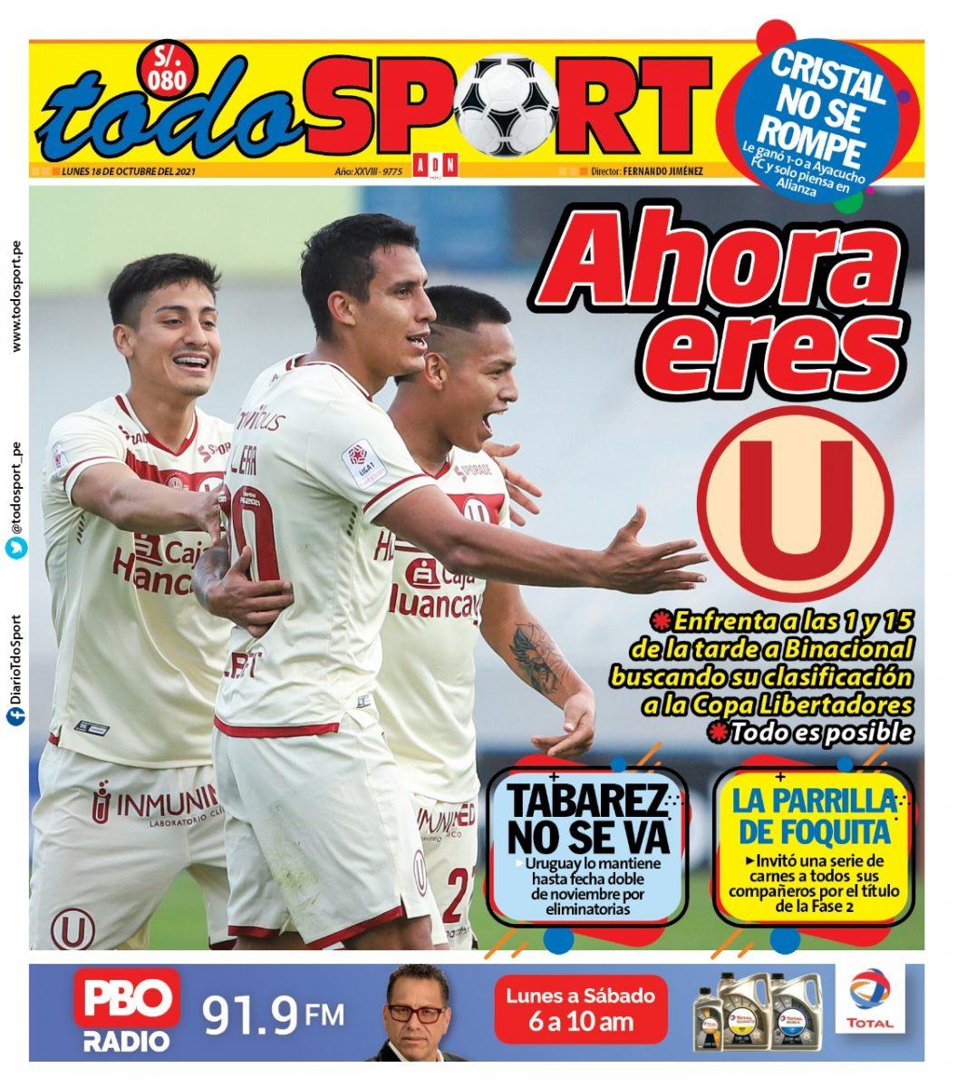 Portada impresa – Diario Todo Sport (18/10/2021)