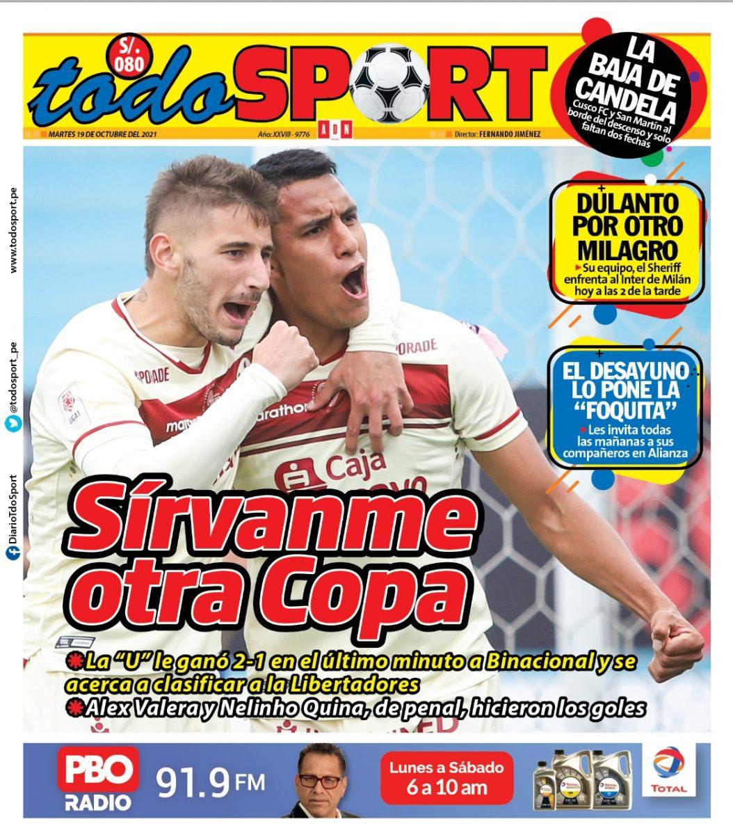 Portada impresa – Diario Todo Sport (19/10/2021)
