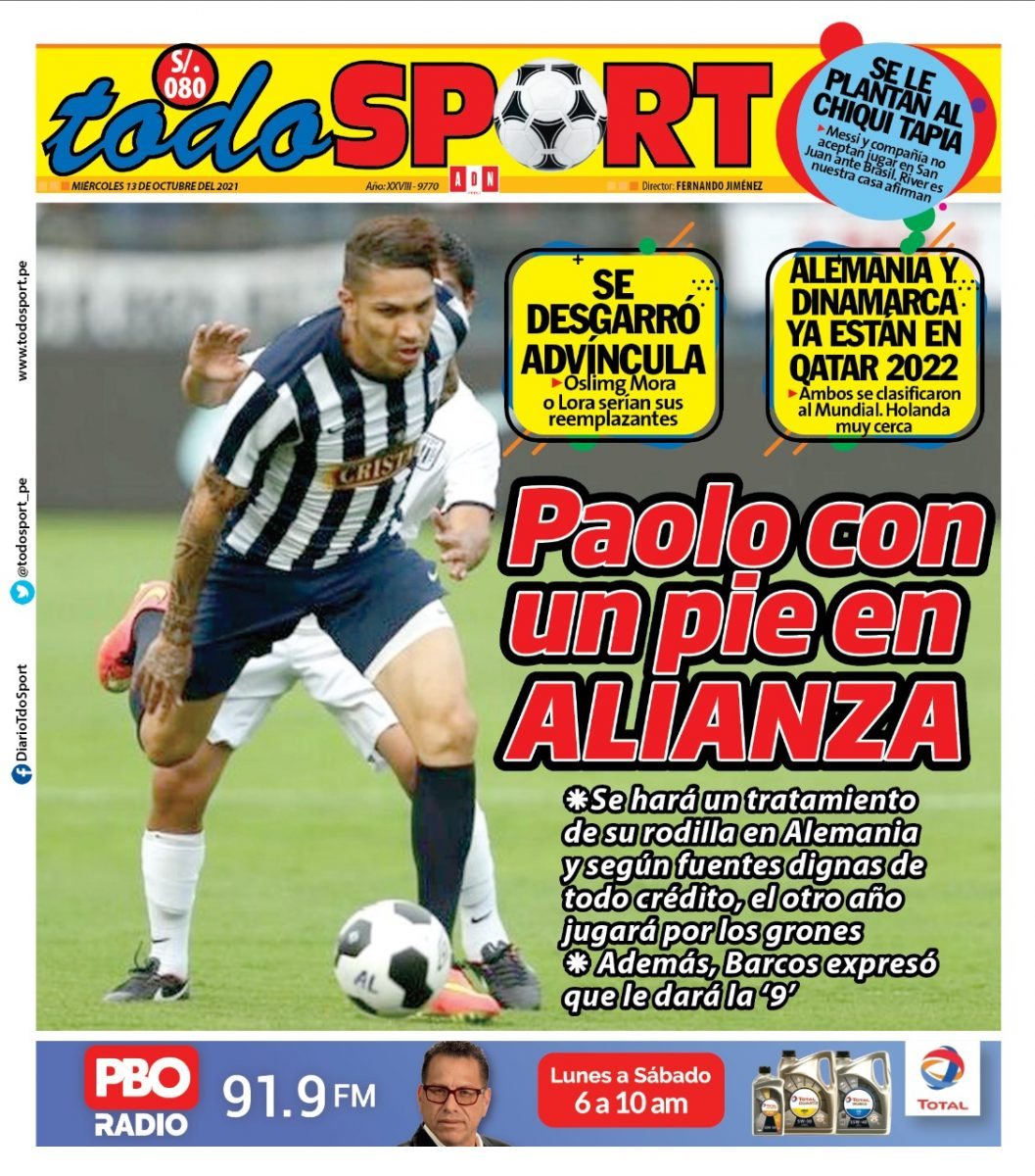 Portada impresa – Diario Todo Sport (13/10/2021)