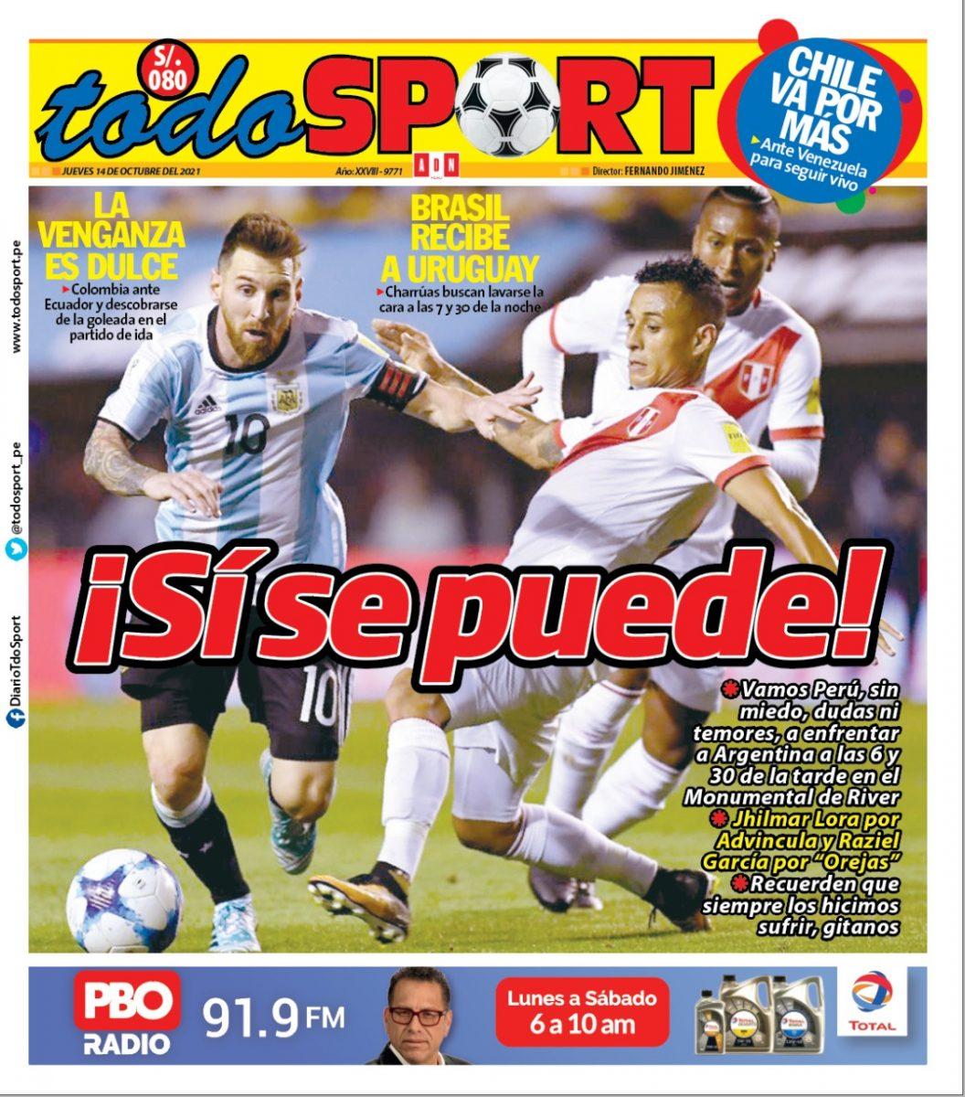 Portada impresa – Diario Todo Sport (14/10/2021)