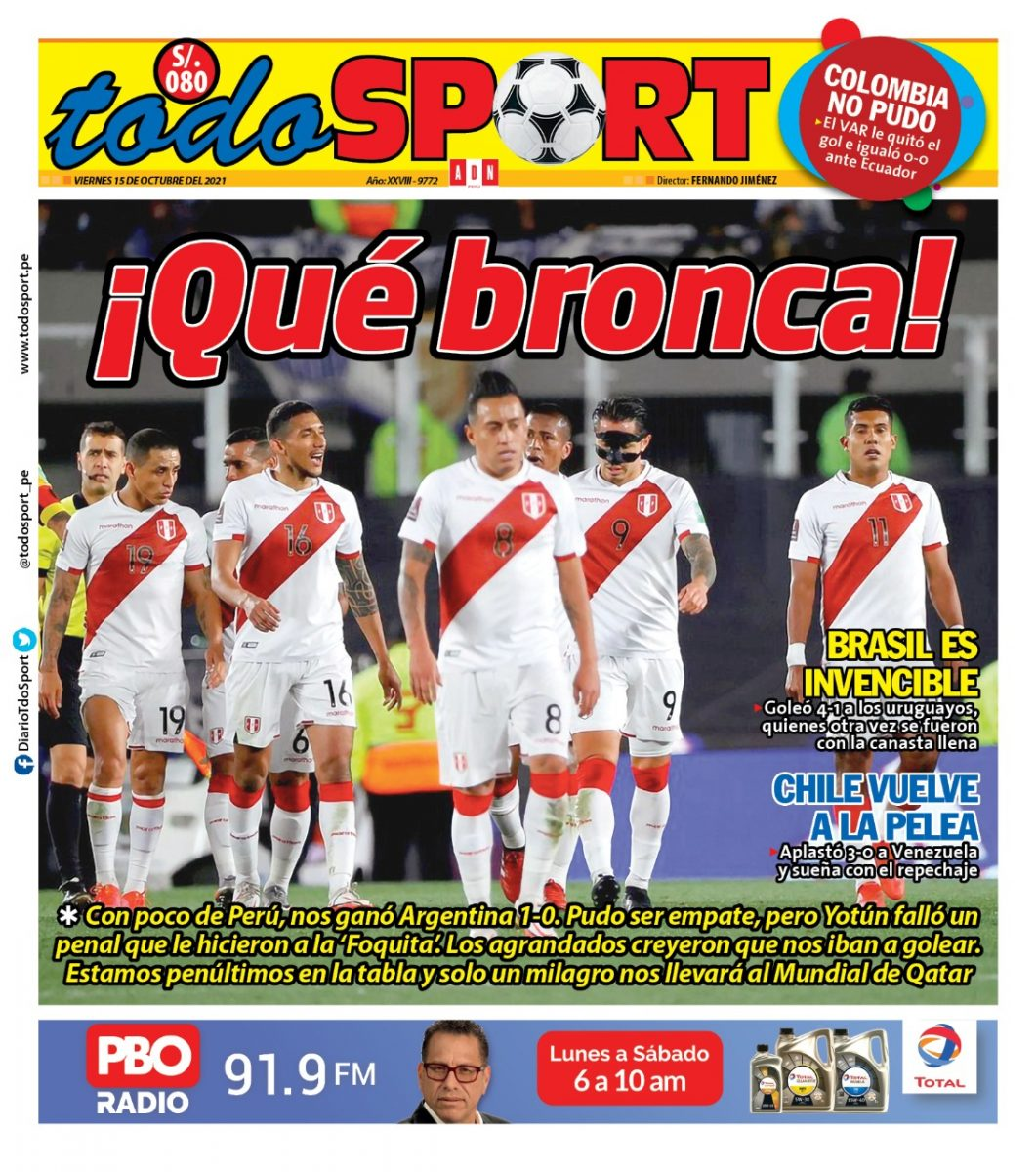 Portada impresa – Diario Todo Sport (15/10/2021)