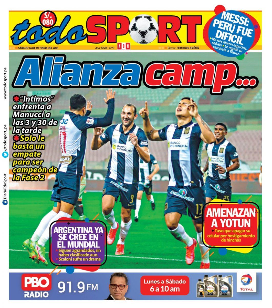 Portada impresa – Diario Todo Sport (16/10/2021)